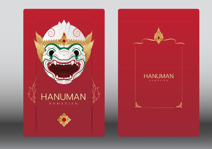 Hanuman, Ramayana, Tailândia clássica dança de máscara, cartão de luxo vetor