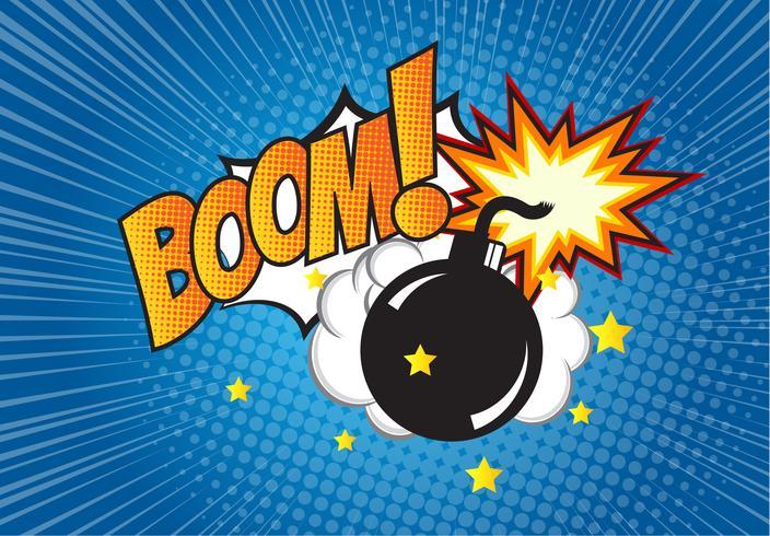 Bomba em estilo pop art e balão de quadrinhos com texto - BOOM! Dinamite dos desenhos animados no fundo com reticulação dos pontos e sunburst. vetor