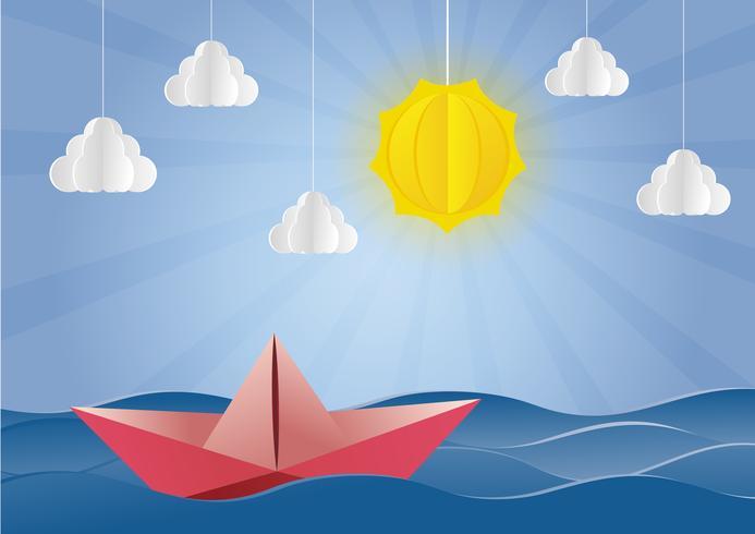 o origami fez o estilo vermelho da arte de boat.paper. vetor