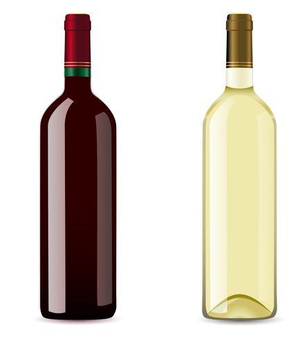 garrafa com vinho tinto e branco vetor