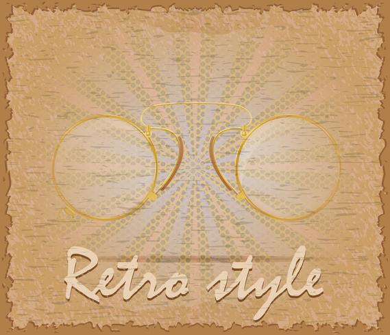 estilo retro cartaz velho óculos pince-nez vector illustration