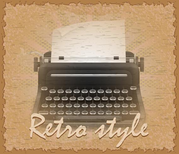 retro style poster old typewriter vector illustration