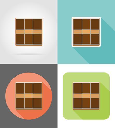 conjunto de móveis de guarda-roupa ícones planas ilustração vetorial vetor