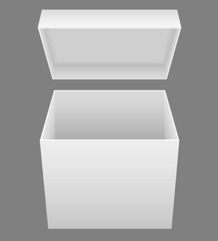 ilustração em vetor branco embalagem caixa aberta