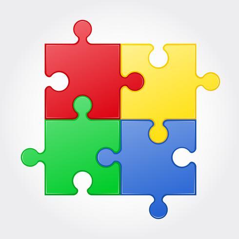 ilustração vetorial de quebra-cabeça quadrada vetor