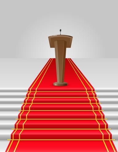 tapete vermelho para ilustração vetorial de tribuna vetor