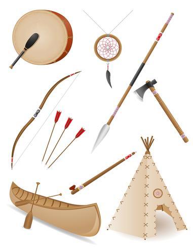 conjunto de ícones objetos americanos índios vector illustration