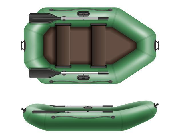 barco de borracha inflável para ilustração vetorial pesca e turismo vetor