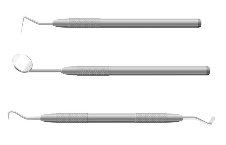 ilustração do vetor de instrumentos odontológicos