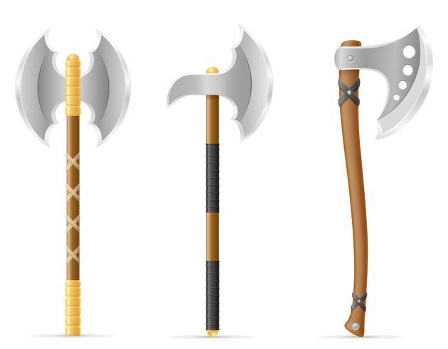 ilustração em vetor estoque medieval de machado de batalha