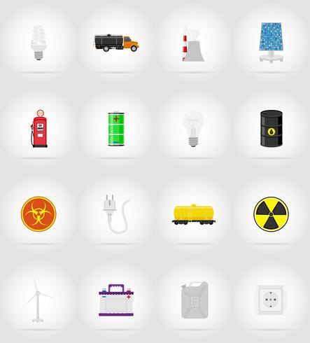 poder e energia plana ícones ícones planas ilustração vetorial vetor