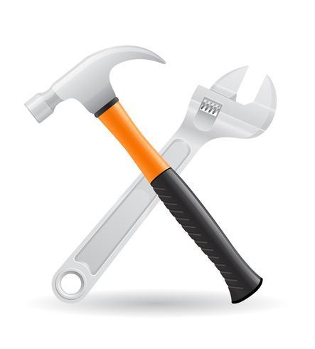 ferramentas martelo e parafuso chave ícones ilustração vetorial vetor