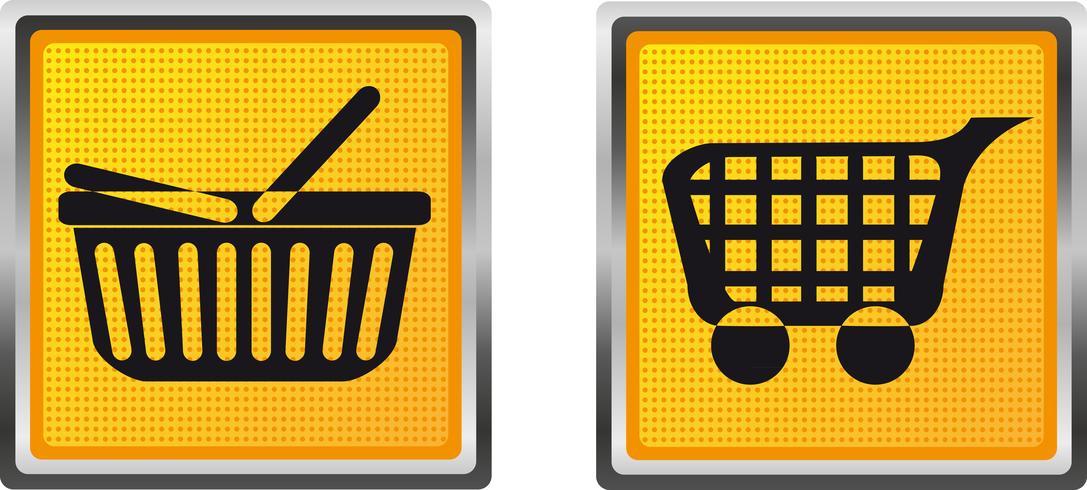 carrinho de compras de ícones e carrinho para ilustração vetorial de design vetor