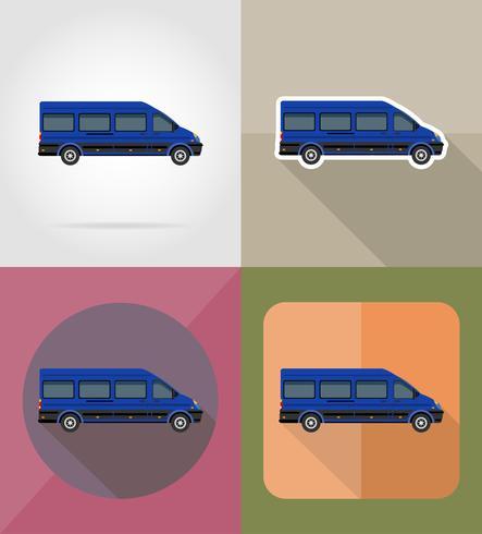 ilustração em vetor ícones plana mini-ônibus