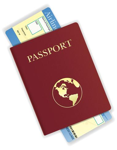 ilustração em vetor bilhete passaporte e avião