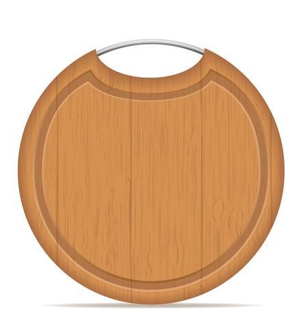 placa de corte de madeira com ilustração vetorial de alça de metal vetor
