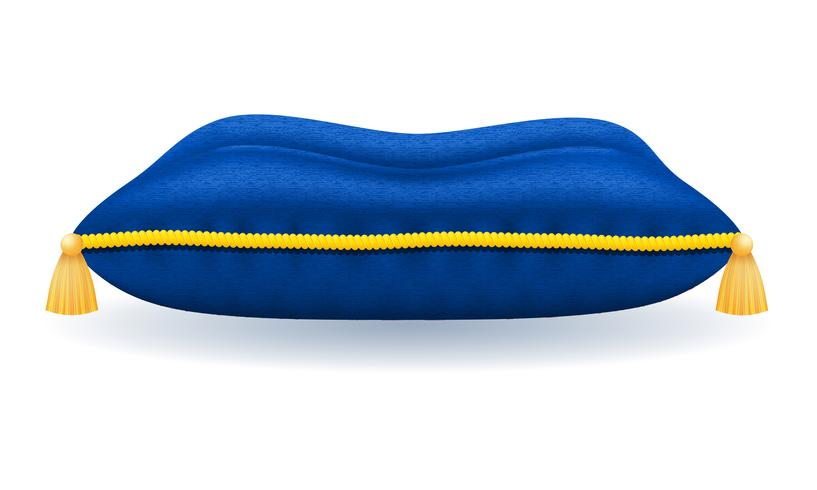 travesseiro de veludo azul com ilustração em vetor corda e borlas de ouro