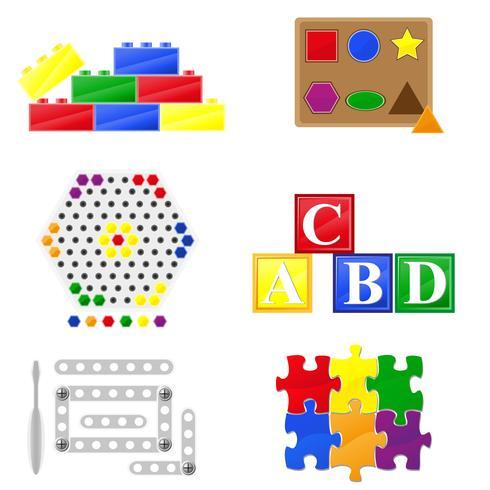 ícones brinquedos educativos para crianças vetor