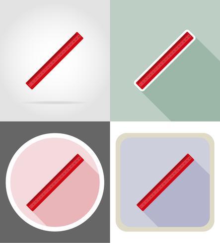 equipamento de papelaria régua definir ilustração em vetor ícones plana