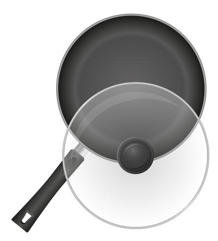 frigideira com uma ilustração do vetor de capa transparente