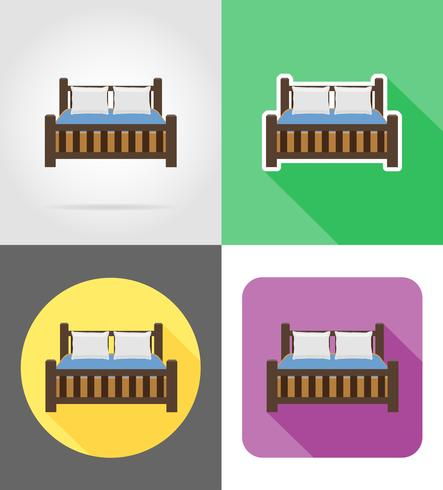 mobília de cama set ilustração em vetor ícones plana