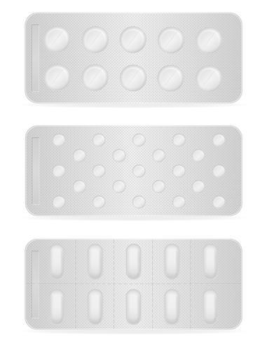 Comprimidos médicos no pacote para ilustração vetorial de tratamento vetor
