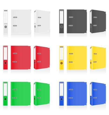 cores de pasta fichário anéis de metal para ilustração vetorial de escritório vetor