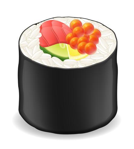 Rolos de sushi em ilustração vetorial de algas nori vetor