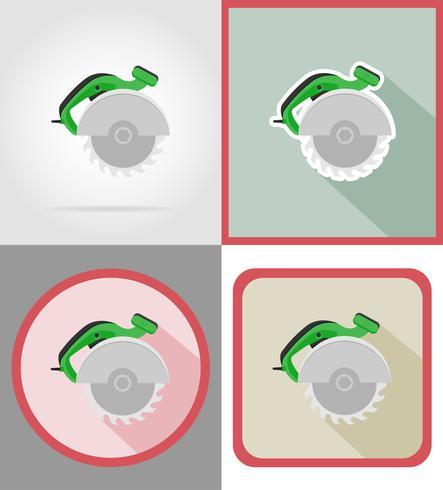 ferramentas de serra elétrica para construção e reparação de ícones plana ilustração vetorial vetor