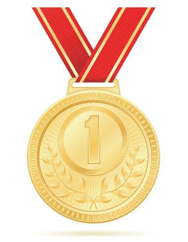 ilustração em vetor estoque medalha vencedor esporte ouro