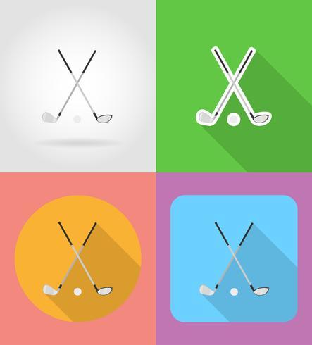 ilustração em vetor ícones plana de clube de golfe e bola