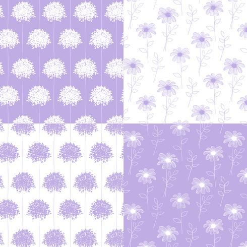 branco e lavanda mão desenhados padrões florais botânicos vetor