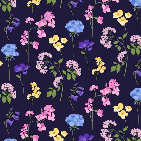 padrão floral botânico em fundo preto vetor