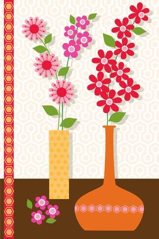 vasos de flor mod colocação de gráfico de vetor