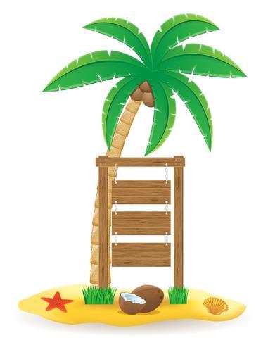 palmeira e ilustração em vetor ícones placa de ponteiro de madeira