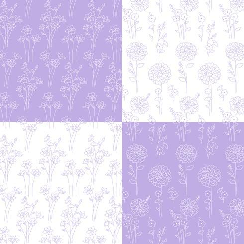mão de lavanda e branco desenhado padrões botânicos vetor