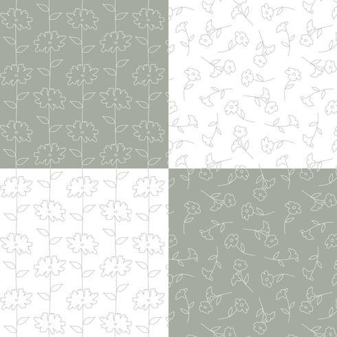 padrões florais botânicos cinzento e branco vetor