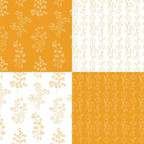 mão de laranja e branco desenhado padrões florais botânicos vetor