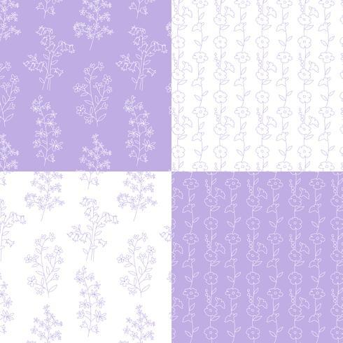mão de lavanda e branco desenhados padrões florais botânicos vetor