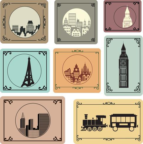 Cidades em estilo retro vetor