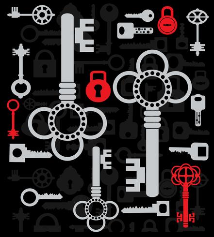 Silhuetas de chaves vetor