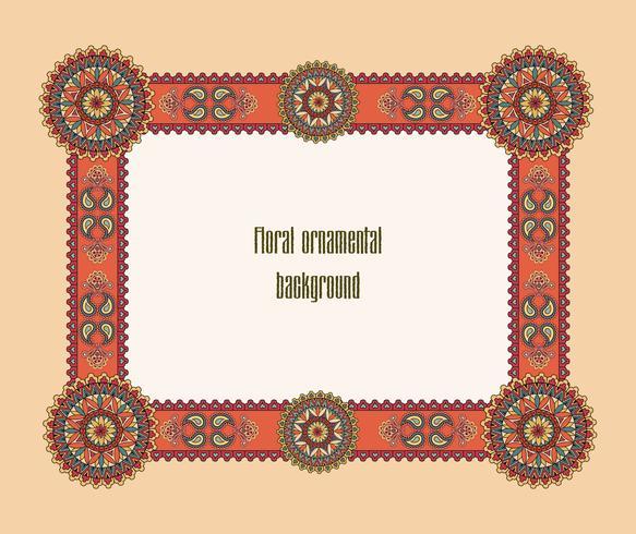 Quadro floral Oriental. Borda ornamental. Fundo de mosaico vetor