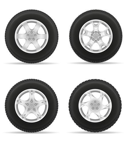 conjunto de ícones roda de carro pneu da ilustração vetorial de disco vetor