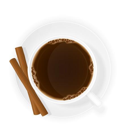 xícara de café com ilustração em vetor vista superior varas de canela