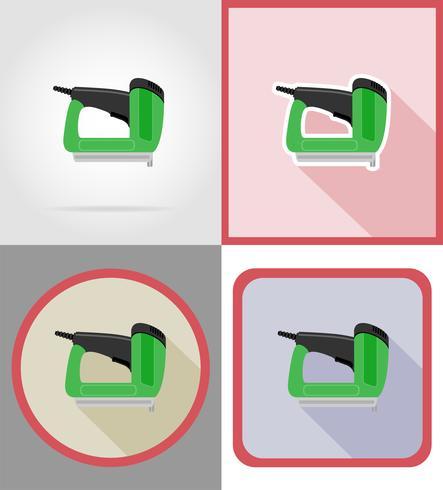 ferramentas de grampeador elétrico para construção e reparação de ícones plana ilustração vetorial vetor