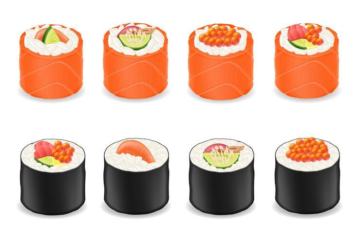 rolos de sushi em peixe vermelho e ilustração vetorial de algas nori vetor