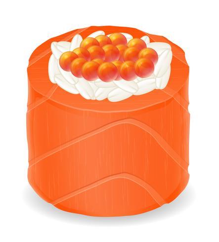 rolos de sushi em ilustração vetorial de peixe vermelho vetor