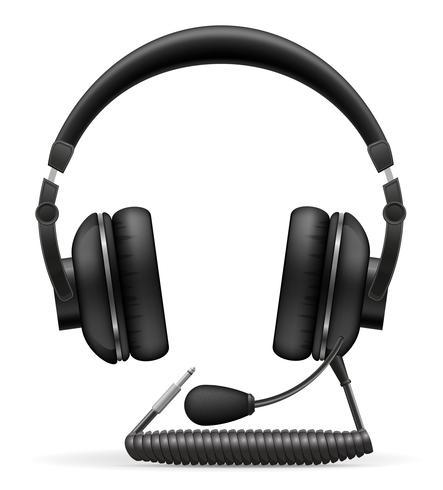fones de ouvido acústicos com ilustração vetorial de microfone vetor