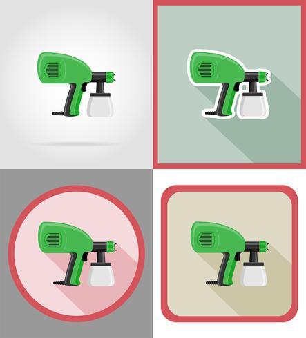 ferramentas de aerógrafo elétrico para construção e reparação de ícones plana ilustração vetorial vetor