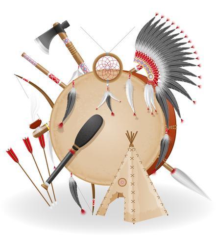 ilustração em vetor ícones índios americanos conceito
